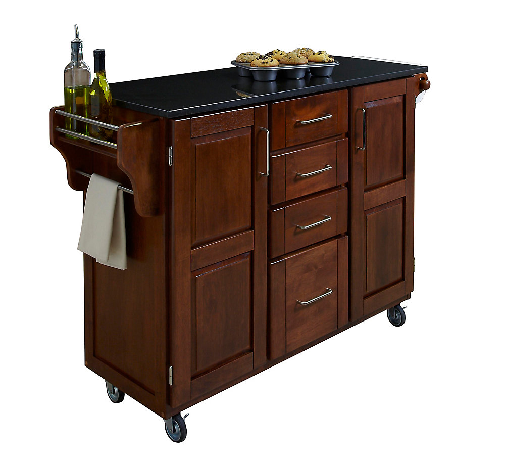 Large Kitchen Cart in Cottage Oak with Black Granite Top
