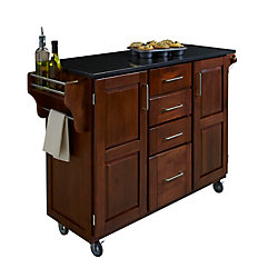 Create A Cart Large Kitchen Cart in Cottage Oak with Black Granite Top