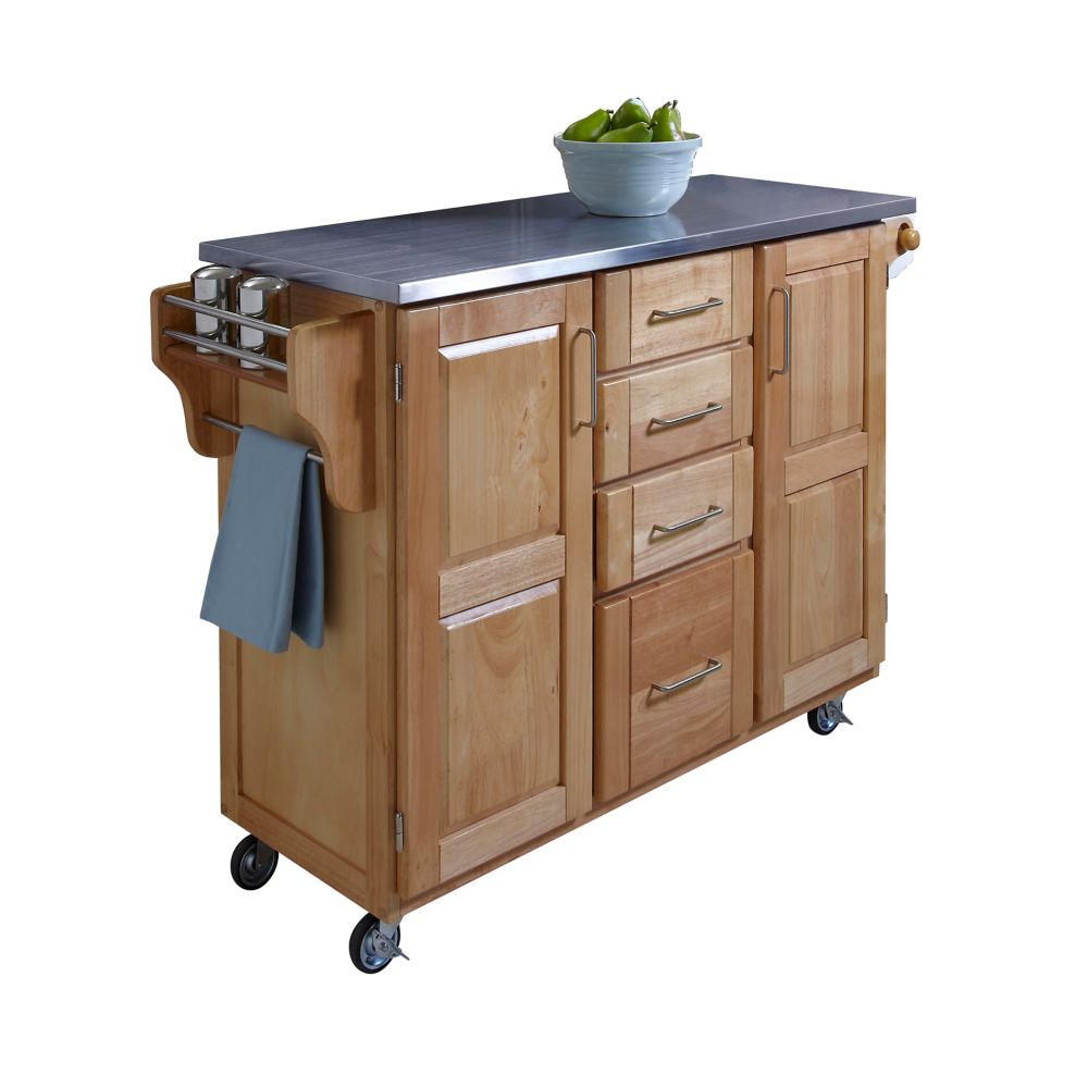 Create A Cart Large Natural With Stainless Top