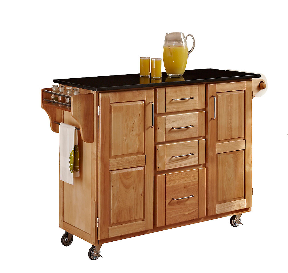 Large Kitchen Cart in Natural Finish with Black Granite Top