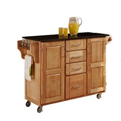 Create A Cart Large Kitchen Cart in Natural Finish with Black Granite Top