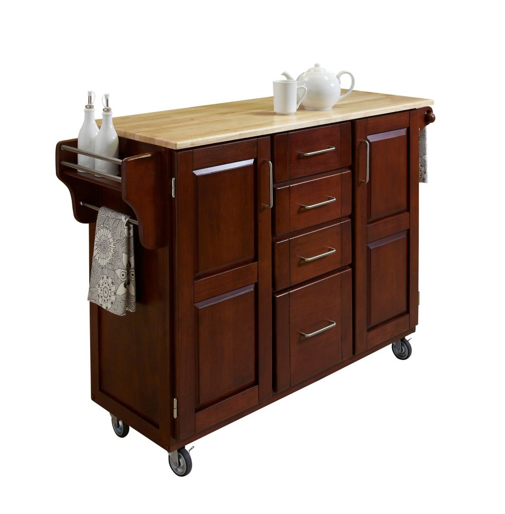 Create A Cart Large Cherry With Wood Top
