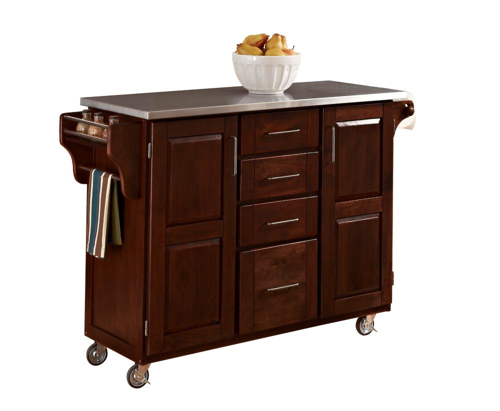 Create A Cart Large Cherry With Stainless Top