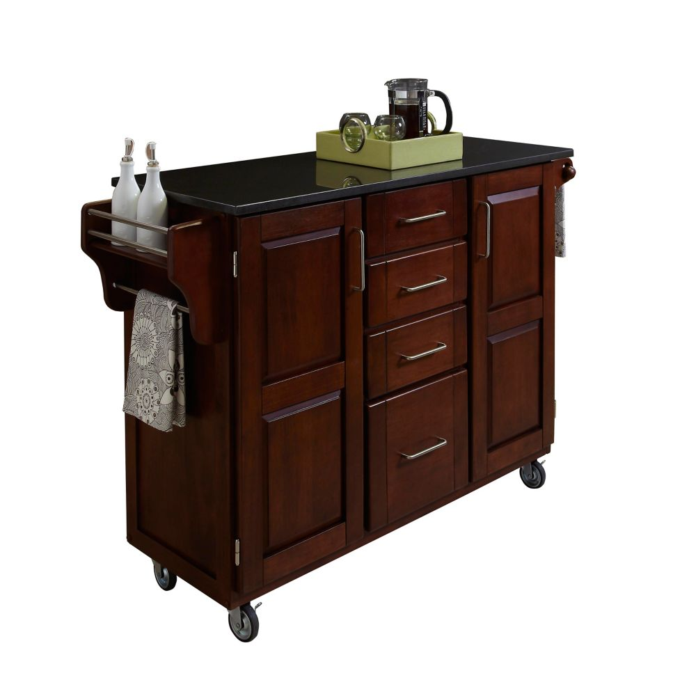 Create A Cart Large Cherry With Black Granite Top