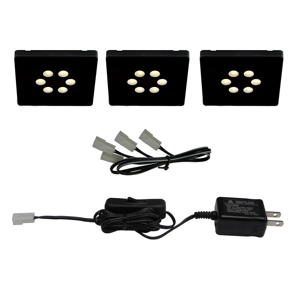 Ensemble de 3 luminaires carrés DEL 1.5W avec un transformateur enfichable, Noir