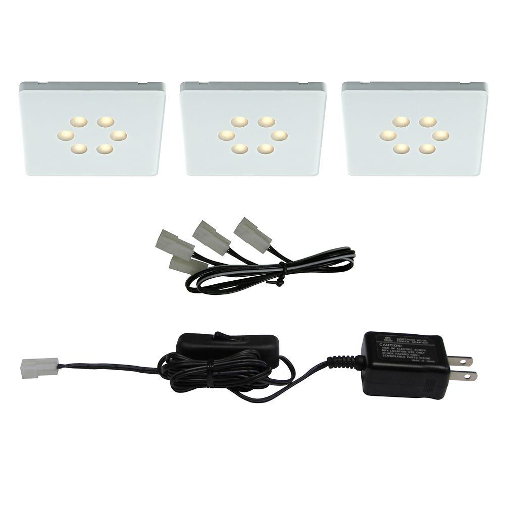 kit of 3 LED Square Light White