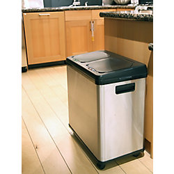 iTouchless 16 Gallon Dual-Compartment Stainless Steel Touchless Sensor Recycle Can