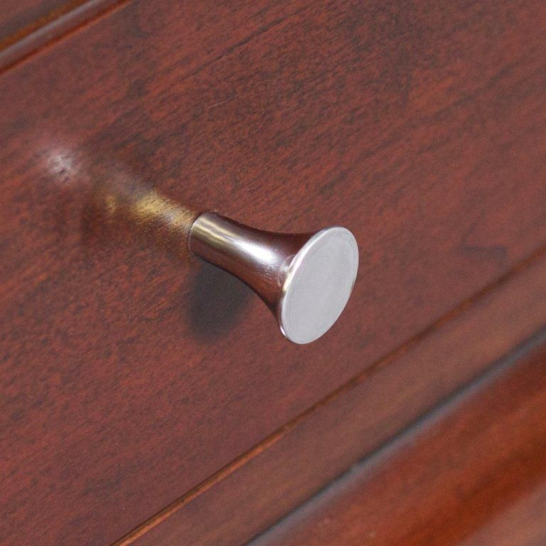 Fluted Round Brass Knob In Polished Chrome Finish