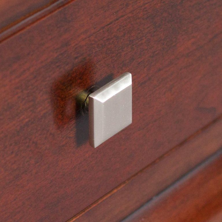 American Imaginations Modern Square Brass Knob In Brushed Nickel Finish