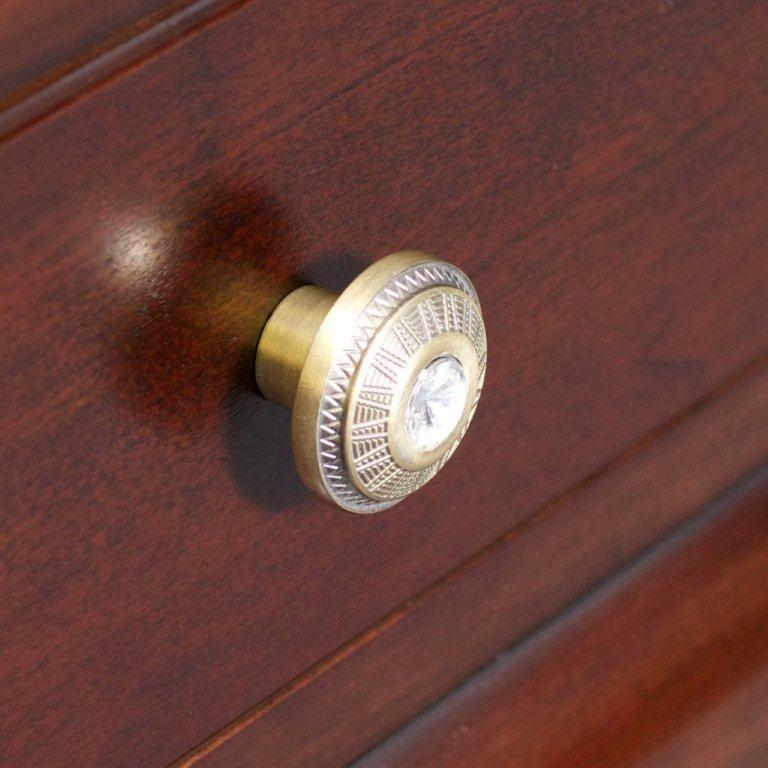 Victorian Style Round Brass Knob In Antique Brass Finish