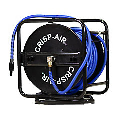 Manual Air Hose Reel with 1/4 inch x 100 feet Hybrid Polymer Air Hose