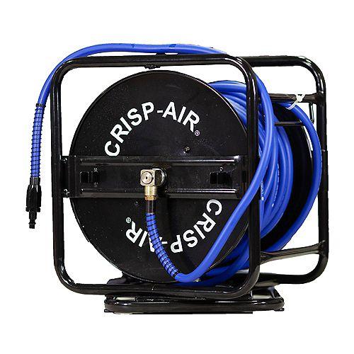 Crisp-Air Manual Air Hose Reel with 1/4 inch x 100 feet Hybrid Polymer Air Hose