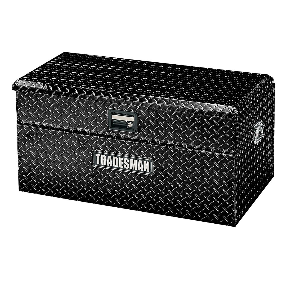36  inch Flush Mount Truck Tool Box, Small Size, Single Lid, Wide, Aluminum Black