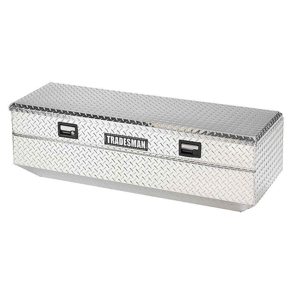 Boîte à outils affleurante de 56 pouces pour camionnette, intermédiaire, couvercle simple, aluminium