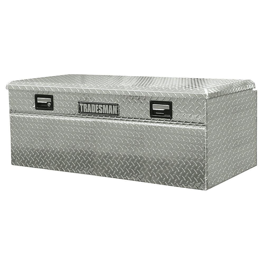 Boîte à outils affleurante de 56 pouces pour camionnette, intermédiaire, couvercle simple, large, aluminium