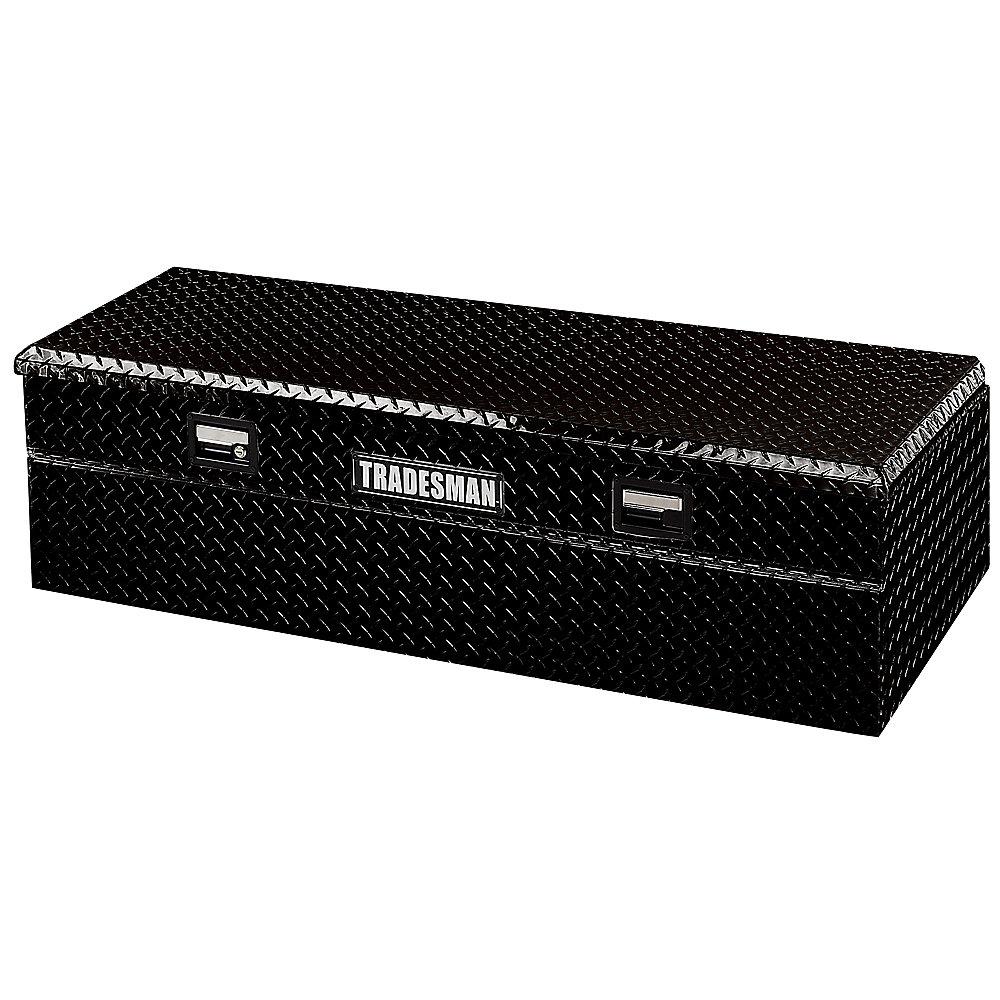 Boîte à outils affleurante de 56 pouces pour camionnette, intermédiaire, couvercle simple, large, aluminium, noir