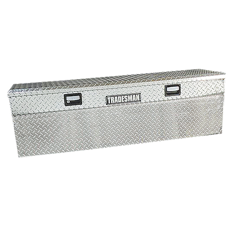 Boîte à outils affleurante de 60 pouces pour camionnette, pleine longueur, couvercle simple, profil bas, aluminium