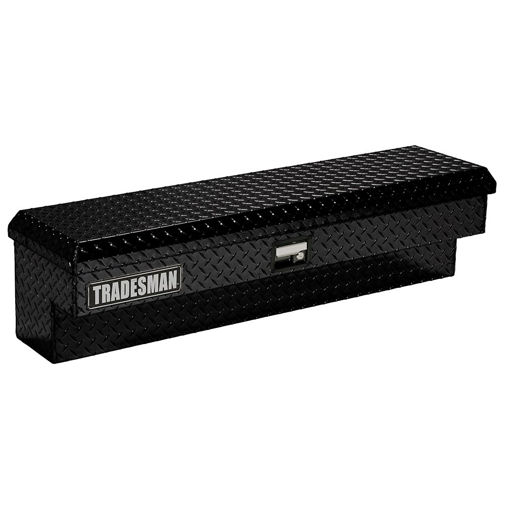 48  inch Side Bin Truck Tool Box, Full or Mid Size Single Lid, Aluminum Black