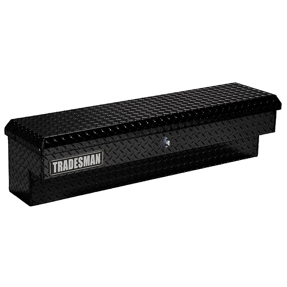 48  inch Side Bin Truck Tool Box, Full or Mid Size Single Lid, Aluminum, Push Button, Black