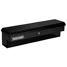 60  inch Side Bin Truck Tool Box, Full or Mid Size Single Lid, Push Button, Aluminum Black