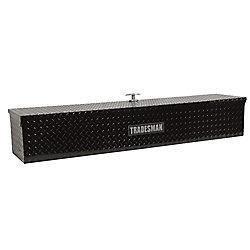 Tradesman 48  inch Flush Mount Truck Tool Box, Mid Size, Single Lid, Side Bin, Aluminum, Black