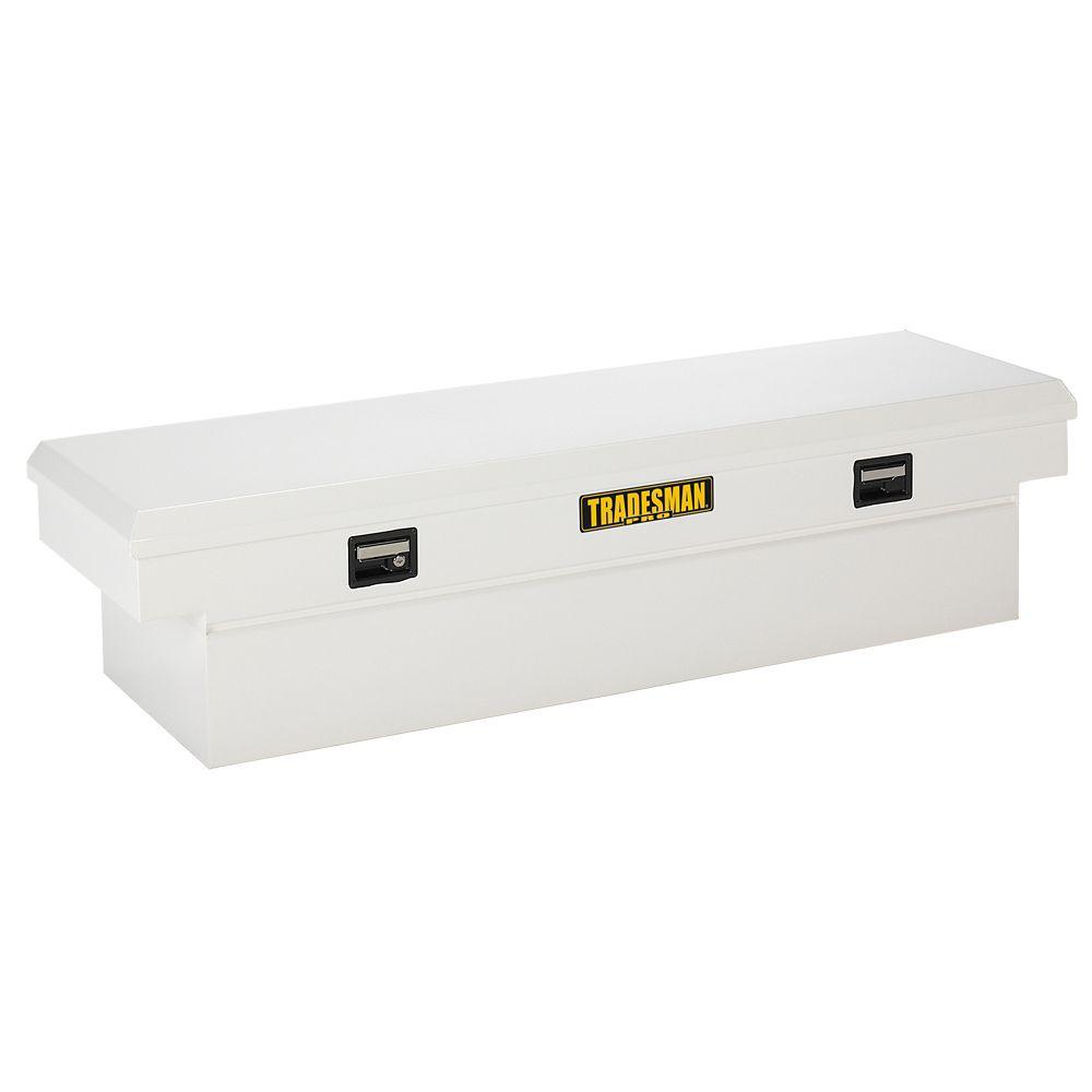 60  inch Cross Bed Truck Tool Box, Mid Size, Single Lid, Steel, White (16 Gauge Steel)