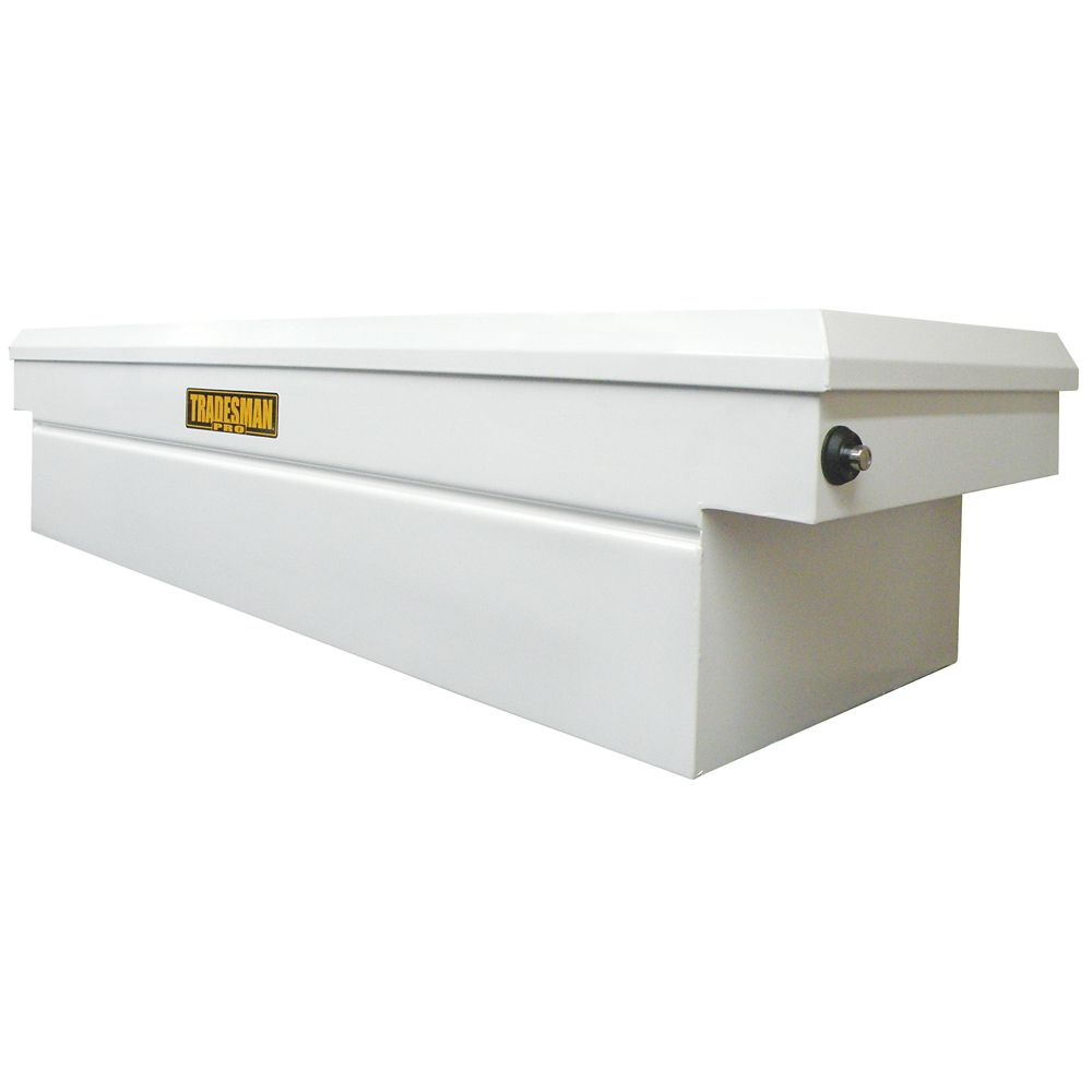 60  inch Cross Bed Truck Tool Box, Mid Size, Single Lid, Steel, Push Button, White (16 Gauge Stee...