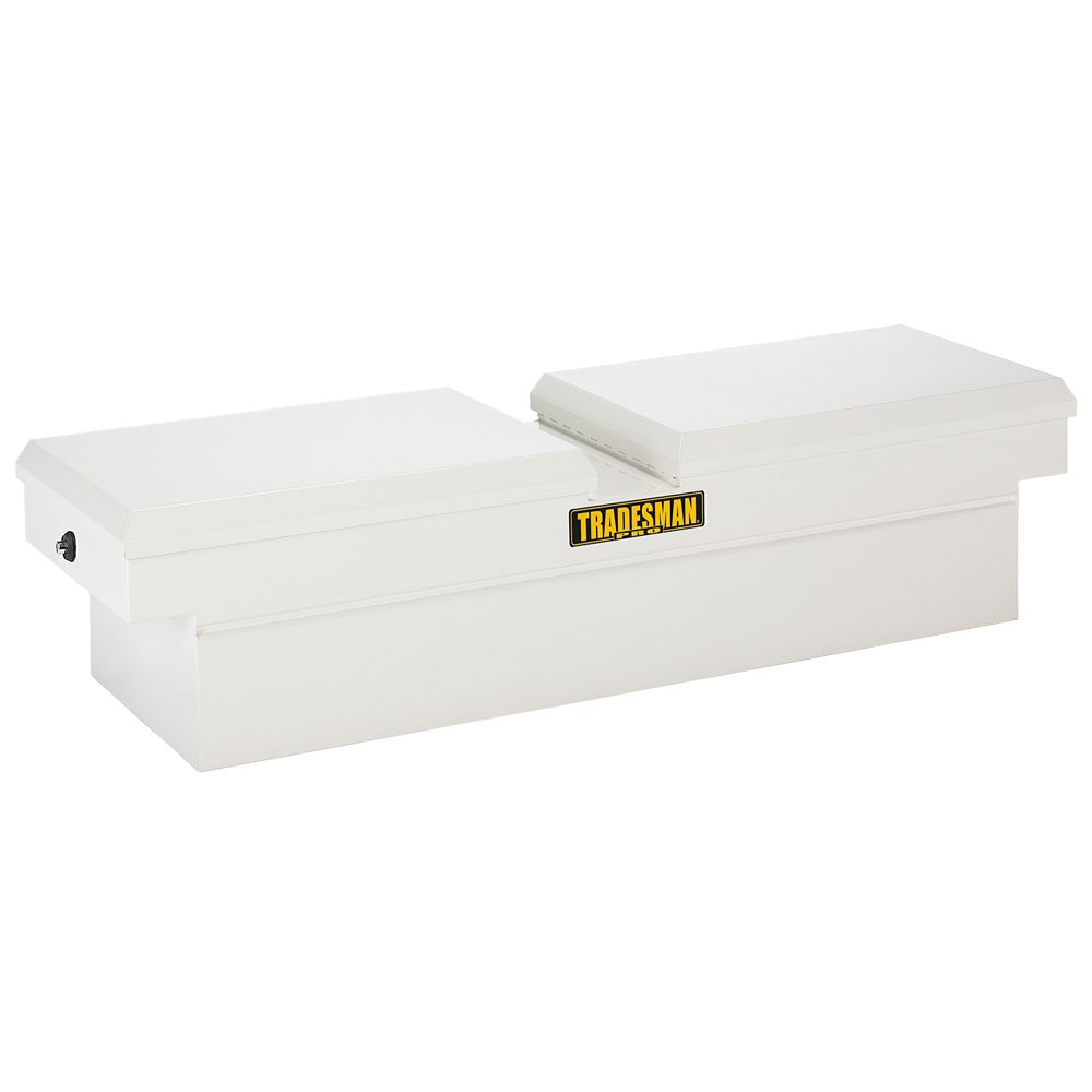 60  inch Cross Bed Truck Tool Box, Mid Size, Gull Wing, Steel, Push Button, White (16 Gauge Steel...