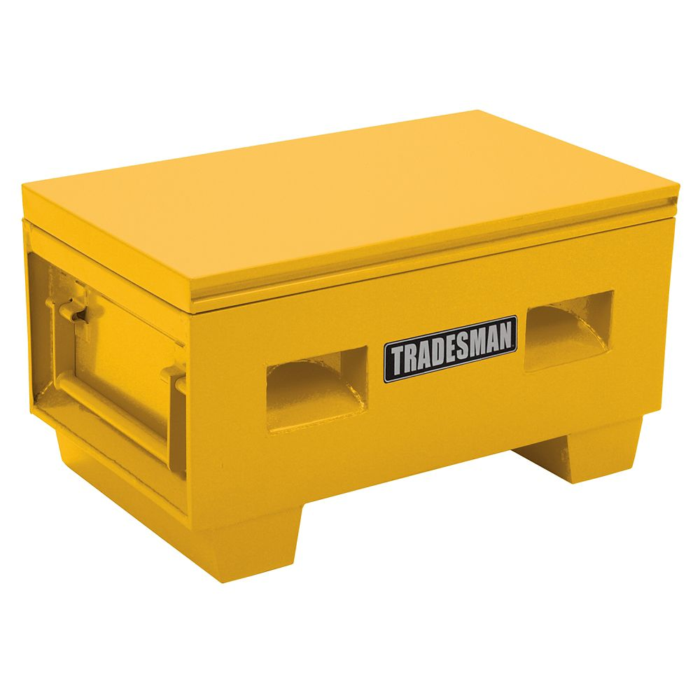 Heavy-Duty Small 36  inch Job Site Box, Steel, Yellow