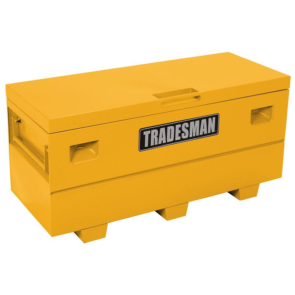 Caisse de chantier de 60 pouces pour service intensif, grand format, acier, jaune