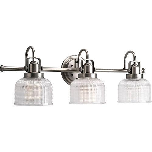 Bathroom Light Fixtures Face Up Or Down progress lighting archie collection 3-light antique nickel bath