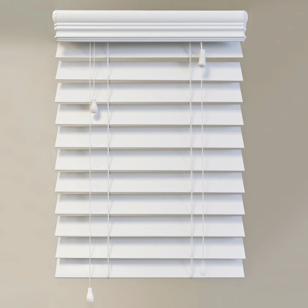 54x72 White 2.5 Inch Premium Faux Wood Blind (Actual width 53.5 Inch)