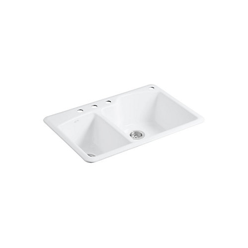 Wheatland 33 Inch x 22 Inch Top-Mount Double Bowl Kitchen Sink in White