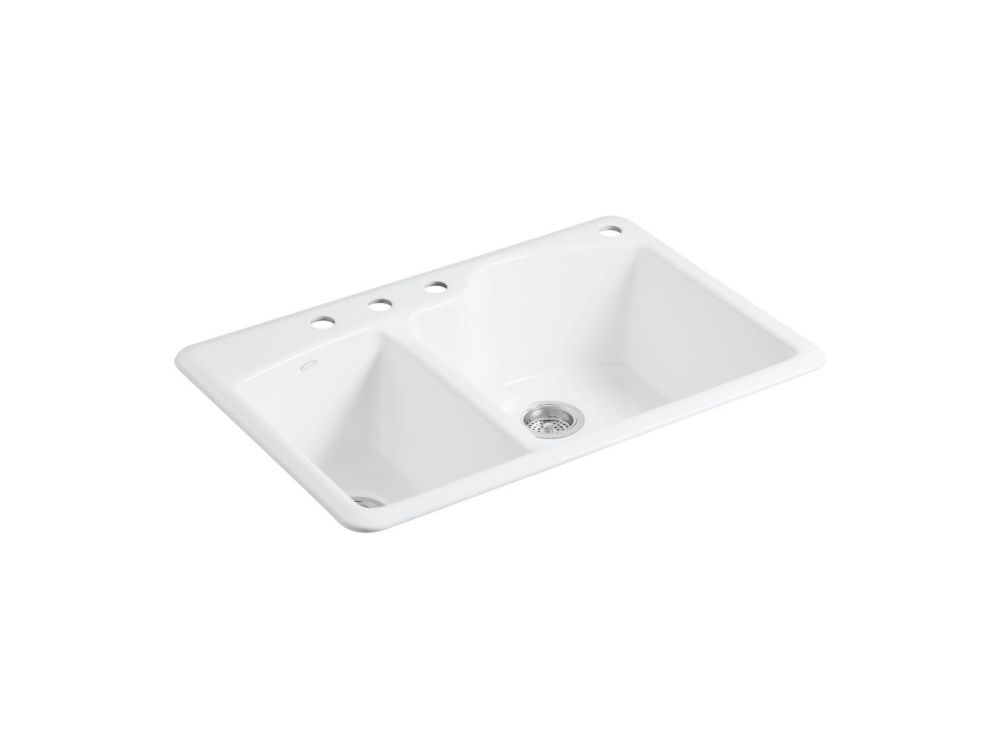 KOHLER Wheatland 33 Inch x 22 Inch Top Mount Double Bowl Kitchen