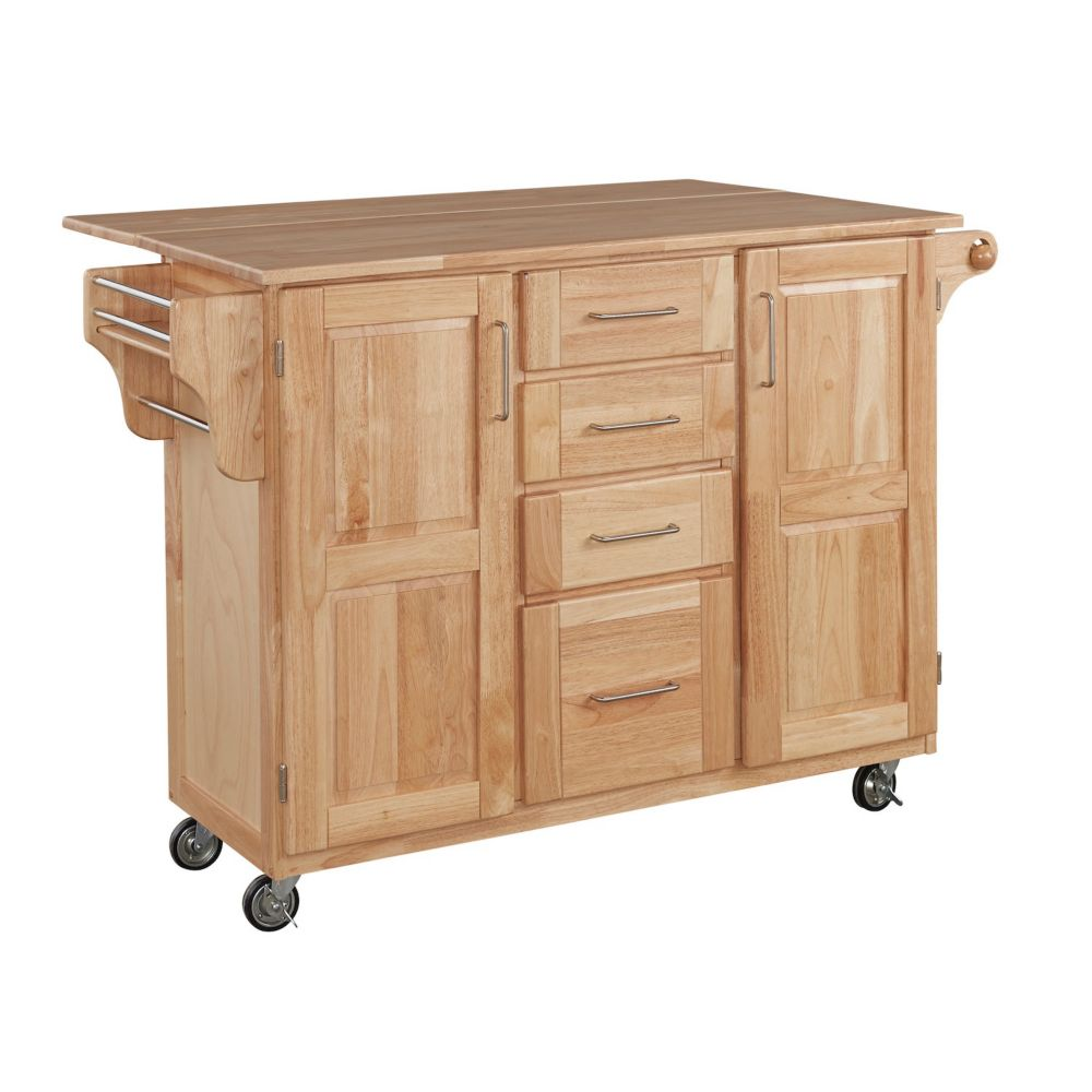 Home Styles Wood Top Kitchen Cart With Wood Drop Leaf Breakfast Bar The Home Depot Canada