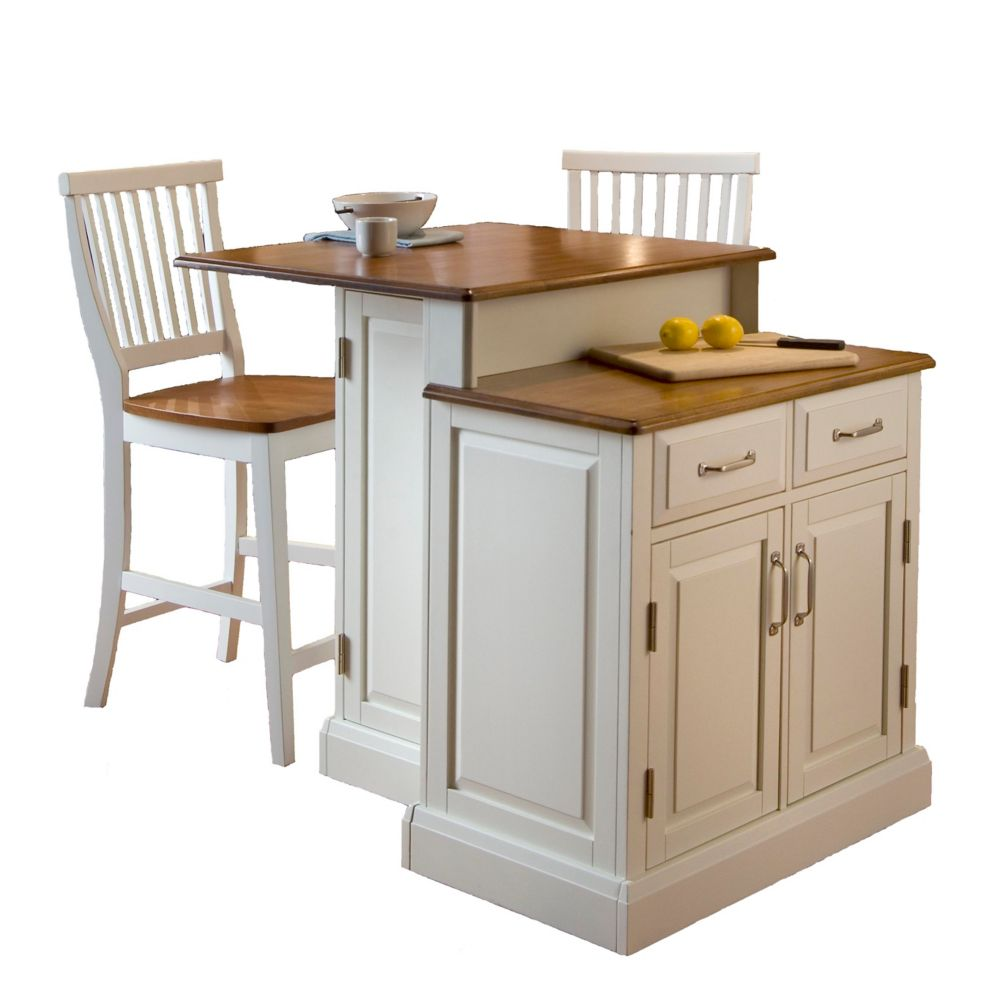 woodbridge two tier kitchen island with matching stools