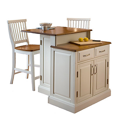 Woodbridge Two Tier Kitchen Island With Matching Stools The Home