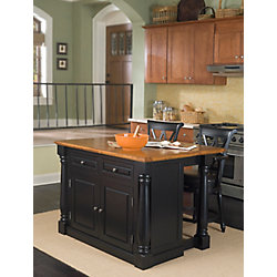 DMI Furniture Monarch Island With Two Stools - Black