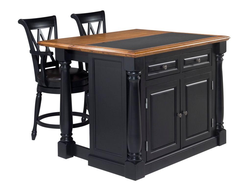 """Îlot de cuisine """"Monarch"""" dessus granite avec 2 tabourets - noir"""