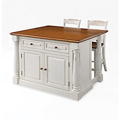 Merveilleux Monarch Island With Two Stools   Antique White