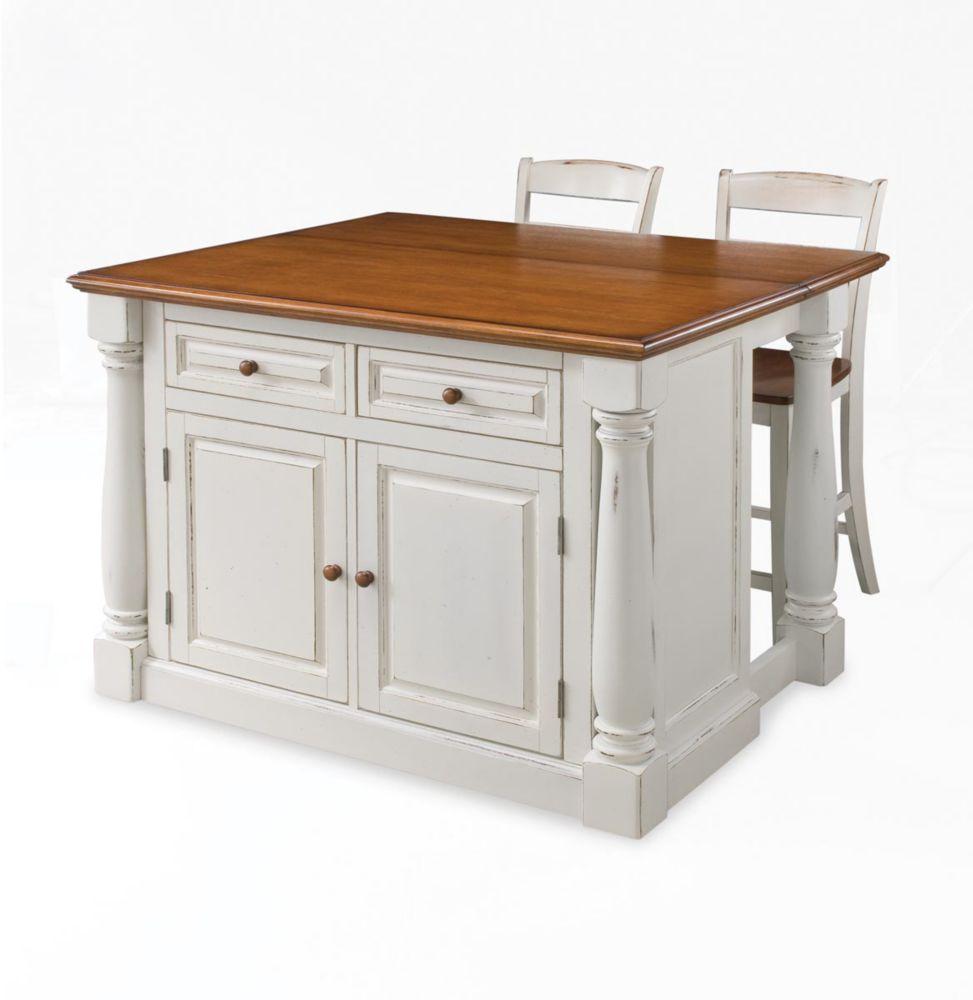 Home Styles Monarch Island With Two Stools - Antique White