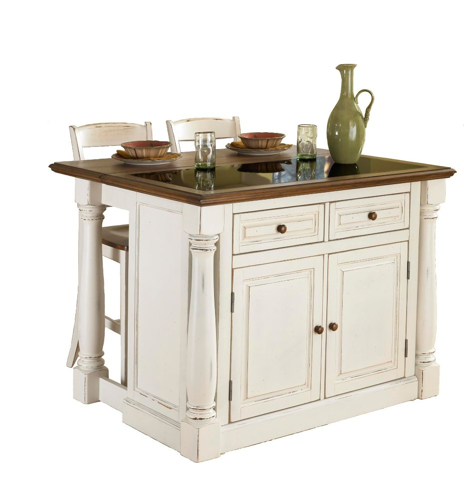 DMI Furniture Monarch Island With Granite Top And Two Stools - Antique White
