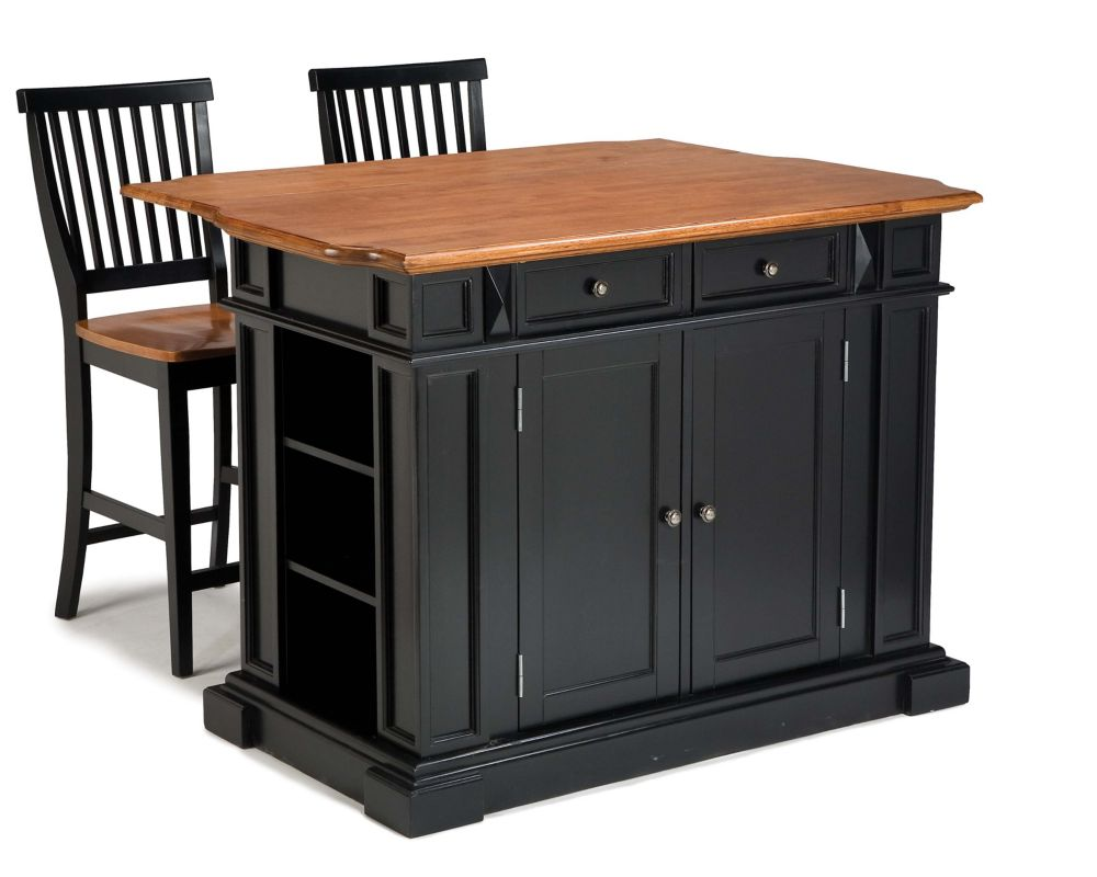 Kitchen Island With Two Stools - Black