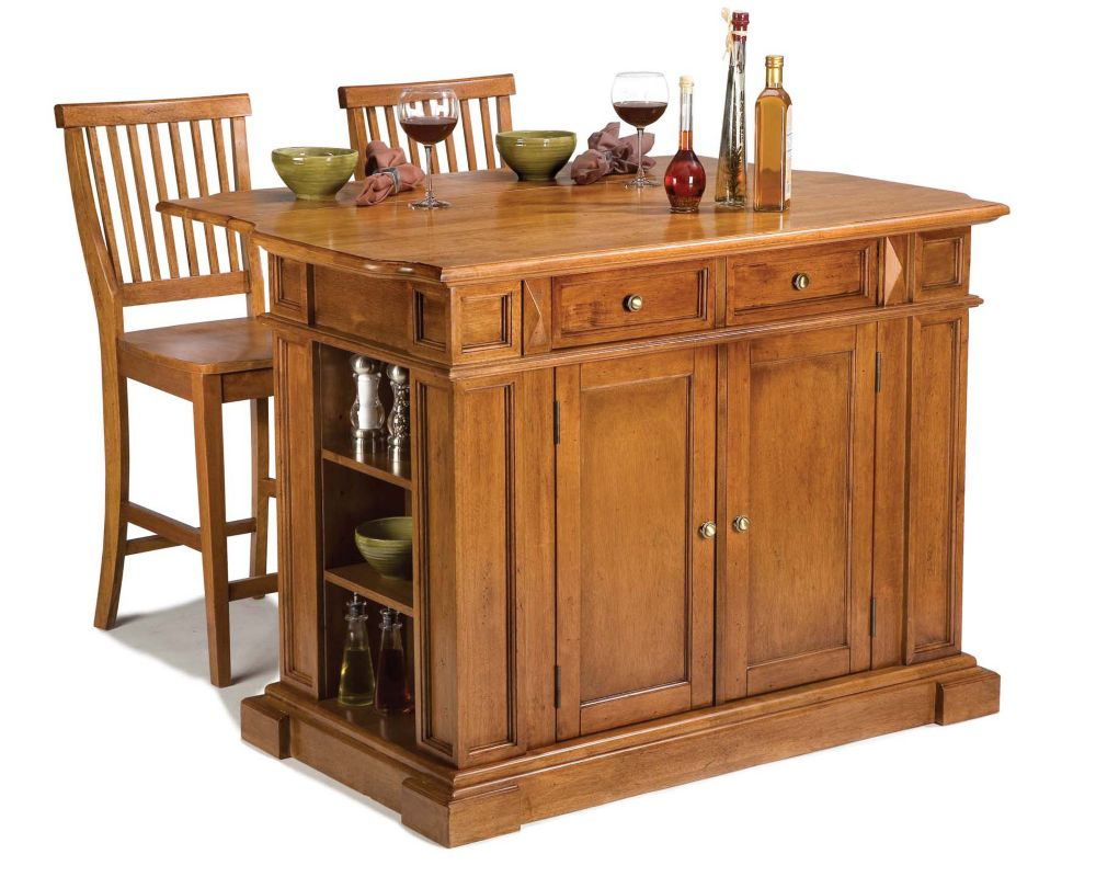 Kitchen Island With Two Stools - Distressed Cottage Oak 5004-948 Canada Discount