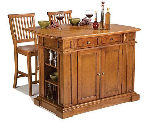 Home Styles Kitchen Island With Two Stools Distressed Cottage Oak - Home depot canada kitchen island