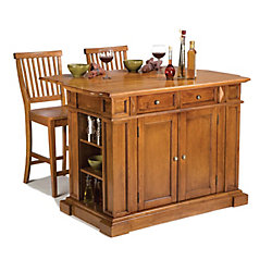 Home Styles Kitchen Island With Two Stools - Distressed Cottage Oak