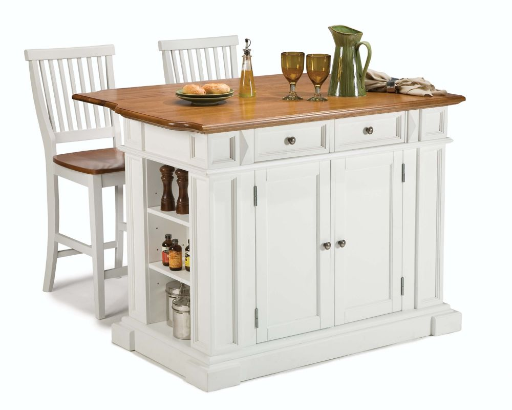 Home Styles Kitchen Island With Two Stools - White