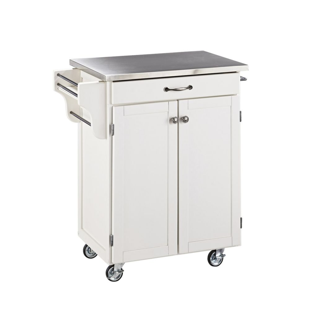Create A Cart Kitchen Cart in White with Stainless Top