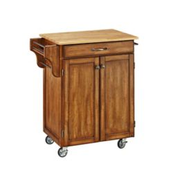 Create A Cart Create-a-Cart Warm Oak Kitchen Cart With Natural Wood Top