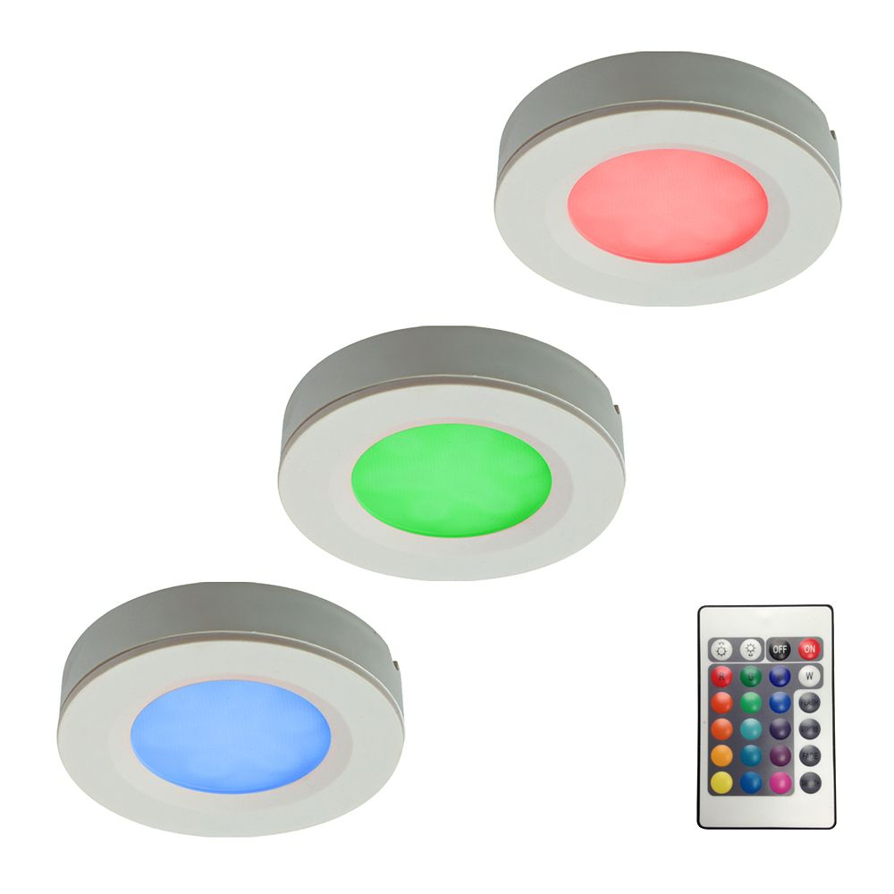Kit of 3 RGB LED Pucks Light with Plug-In Driver and Remote Controller